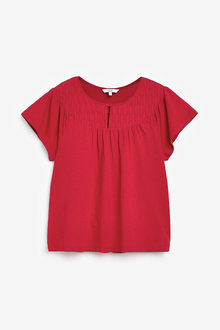 Next Red Embroidered Yoke Top - 264430