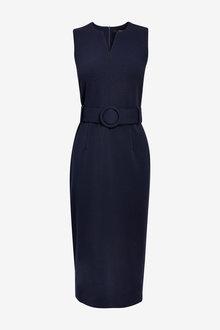 Next Navy Belted Dress - 264478