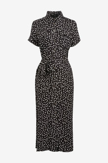 Next Monochrome Print Midi Shirt Dress - 264518
