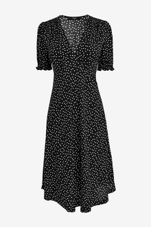 Next Black Spot Short Sleeve Smock On-The-Knee Dress - 264528