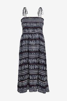 Next Navy Smocked Strappy Dress - 264603
