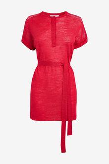 Next Red Linen Blend Tie Waist Tunic - 264626