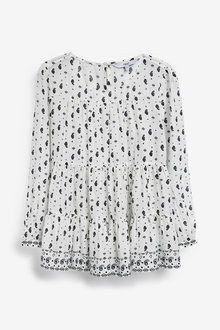 Next Monochrome Paisley Print Long Sleeve Tiered Top - 264642