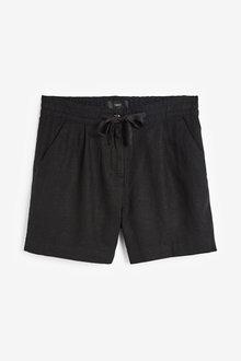 Next Solid Black Linen Blend Shorts - 264649