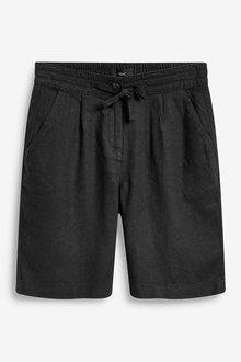 Next Black Linen Blend Knee Shorts - 264652