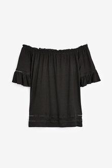 Next Black Ruffle Bardot Top - 264706