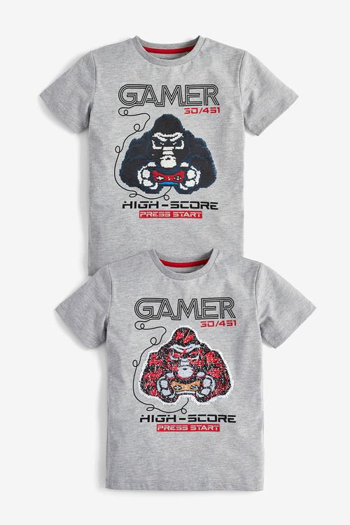 Next Grey Marl Gorilla Sequin T-Shirts