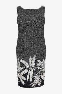 Next Black Floral Linen Blend Shift Dress - 264777