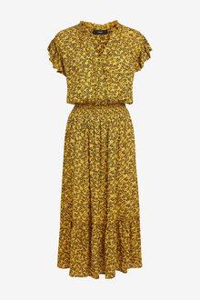Next Ochre Floral Midi Ruffle Dress - 264838