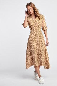 Next Tan Geo Turn-Up Sleeve Dress - 264866