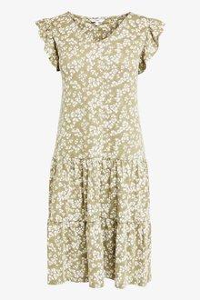 Next Green Ditsy V-Neck Frill Sleeve Dress - 264867