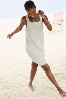 Next Ecru Stripe Linen Blend Square Neck Dress - 264868