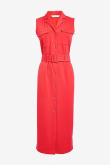Next Red Pocket Belted Dress - 264869