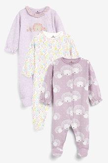 Next 3 Pack Hedgehog Sleepsuits (0-18mths) - 264896