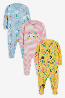 Next 3 Pack Floral Unicorn Sleepsuits (0-2yrs) - 264899