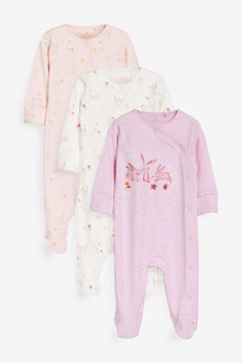 Next 3 Pack Floral Bunny Sleepsuits (0mths-2yrs) - 264902