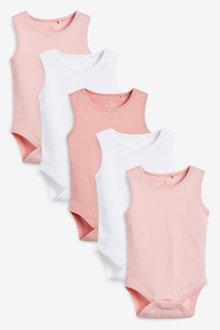 Next 5 Pack GOTS Organic Cotton Vest Bodysuits (0mths-3yrs) - 264907