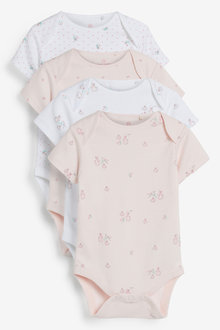 Next 4 Pack GOTS Organic Delicate Bunny Short Sleeved Bodysuits (0mths- - 264908