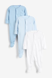 Next 3 Pack GOTS Certified Organic Cotton Sleepsuits (0mths-2yrs) - 264914