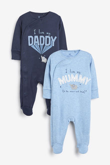 Next 2 Pack Mummy And Daddy Elephant Sleepsuits (0mths-2yrs) - 264916