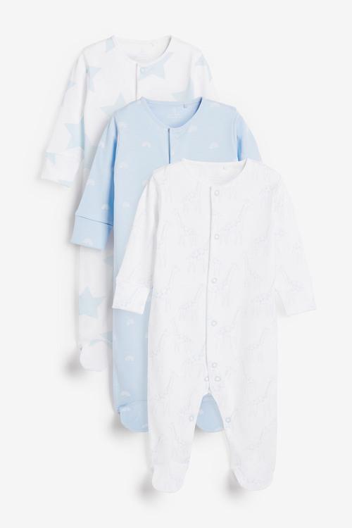 Next 3 Pack Giraffe Star Supima Cotton Sleepsuits (0mths-2yrs)