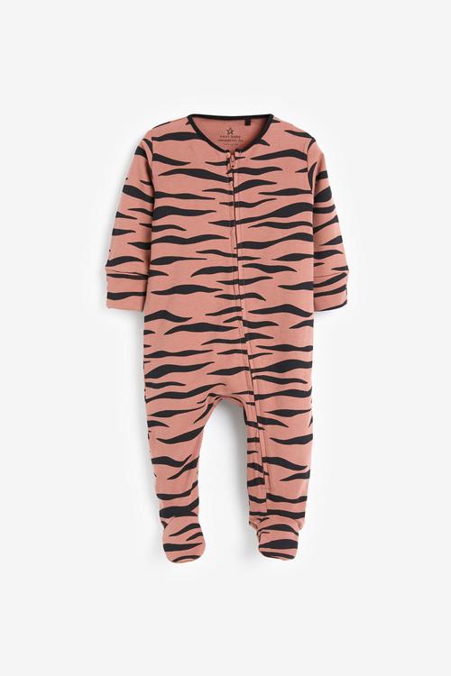 Next 2 Pack Animal Print Zip Sleepsuits (0mths-2yrs)