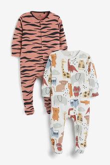 Next 2 Pack Animal Print Zip Sleepsuits (0mths-2yrs) - 264921