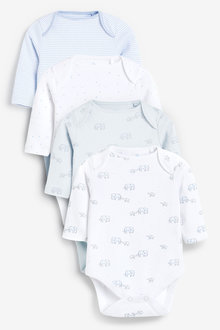 Next 4 Pack Organic Elephant Long Sleeve Bodysuits (0mths-3yrs) - 264923