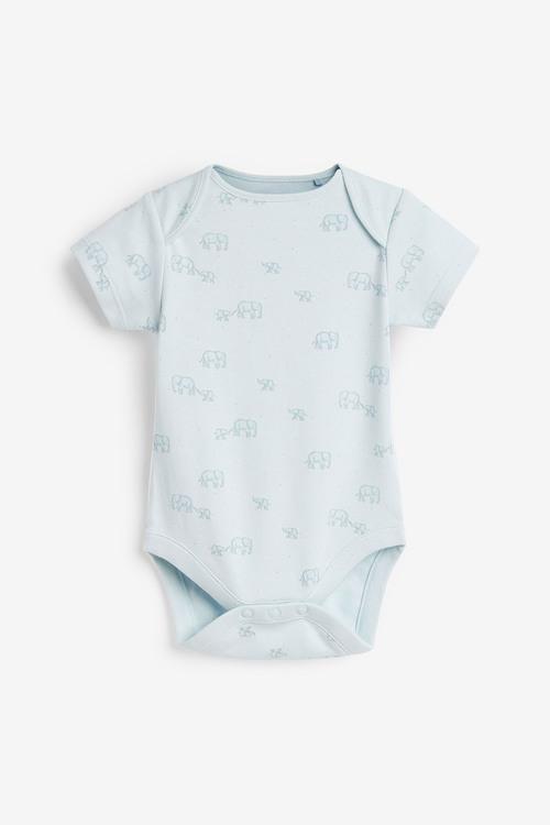 Next 4 Pack GOTS Organic Delicate Elephant Short Sleeved Bodysuits