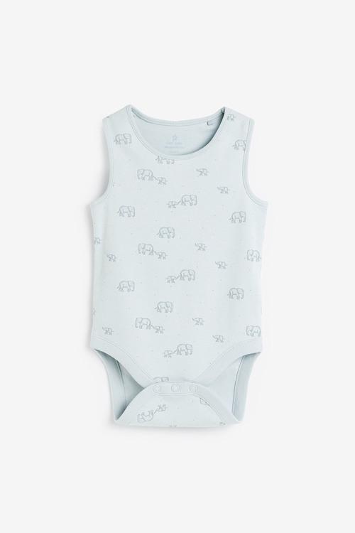 Next 4 Pack GOTS Organic Elephant Vest Bodysuits (0mths-3yrs)
