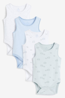 Next 4 Pack GOTS Organic Elephant Vest Bodysuits (0mths-3yrs) - 264925