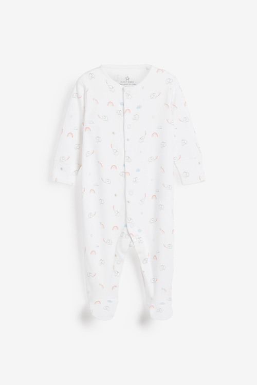 Next 4 Pack GOTS Organic Bright Elephant Sleepsuits (0-2yrs)