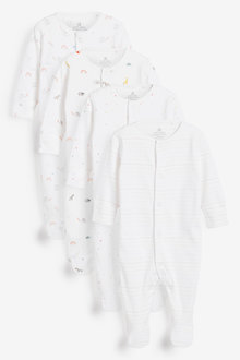 Next 4 Pack GOTS Organic Bright Elephant Sleepsuits (0-2yrs) - 264935