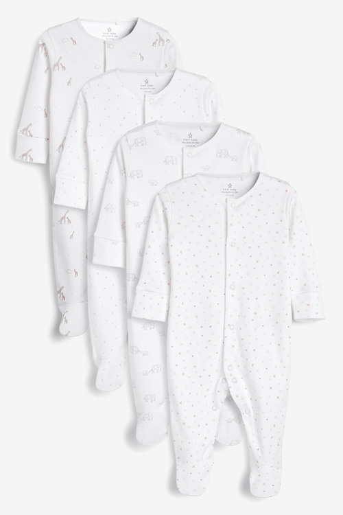 Next 4 Pack GOTS Organic Delicate Multi Print Sleepsuits (0-2yrs)