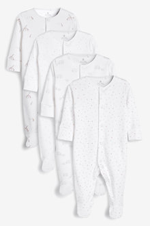 Next 4 Pack GOTS Organic Delicate Multi Print Sleepsuits (0-2yrs) - 264937