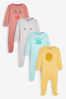 Next 4 Pack GOTS Organic Character Face Sleepsuit (0mths-2yrs) - 264939