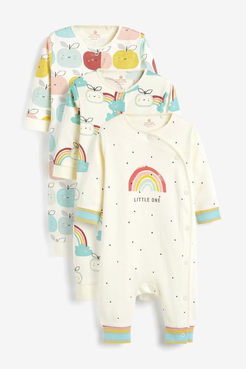 Next 3 Pack GOTS Organic RaiNewbornow Apple Footless Sleepsuits (0mths-