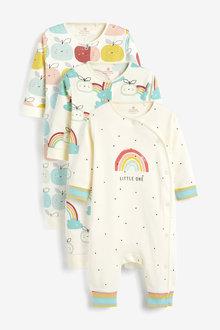 Next 3 Pack GOTS Organic RaiNewbornow Apple Footless Sleepsuits (0mths- - 264948