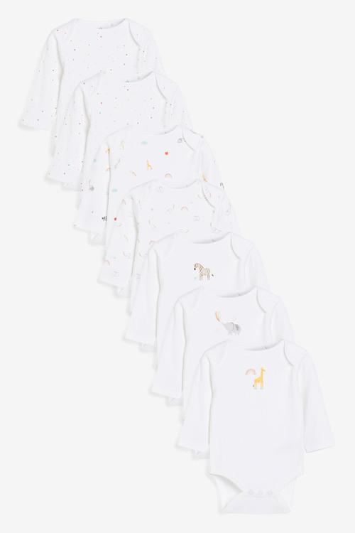Next 7 Pack GOTS Organic Character Long Sleeve Bodysuits (0mths-2yrs)