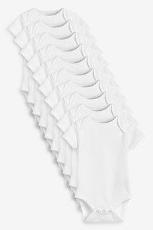 Next 10 Pack GOTS Organic Cotton Short Sleeve Bodysuits (0mths-3yrs) - 264964