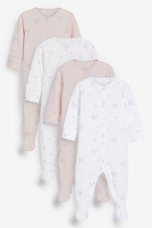 Next 4 Pack GOTS Organic Delicate Bunny Sleepsuits (0-2yrs) - 265062