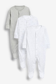 Next 3 Pack Supima Cotton Sleepsuits (0mths-2yrs) - 265066