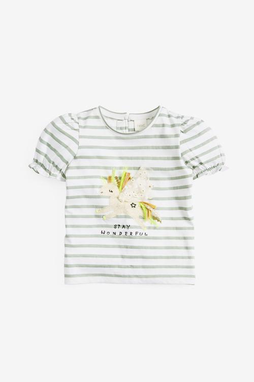 Next Puff Sleeve Unicorn T-Shirt (3mths-7yrs)