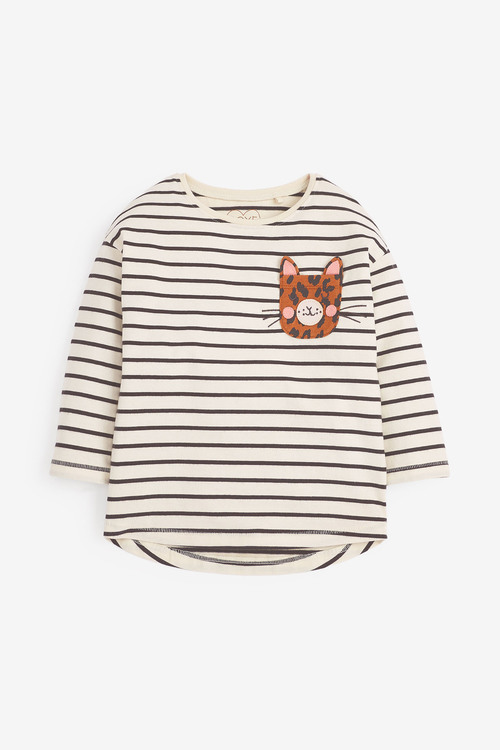 Next Long Sleeve Leopard Pocket T-Shirt (3mths-7yrs)