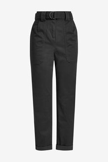 Next Cotton Rich Belted Taper Trousers - 265434