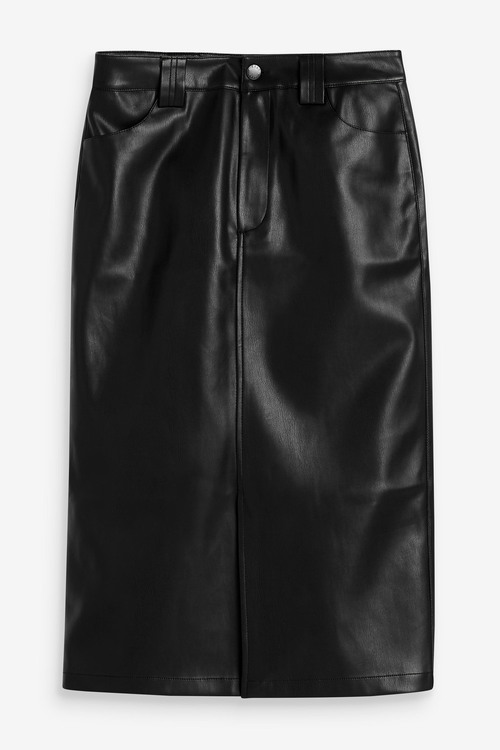 Next Faux Leather PU Midi Skirt