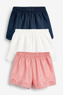 Next 3 Pack Jersey Broderie Shorts (3mths-8yrs) - 265592
