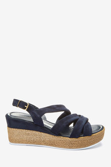 Next Leather Soft Knot Wedge Sandals-Regular - 265593