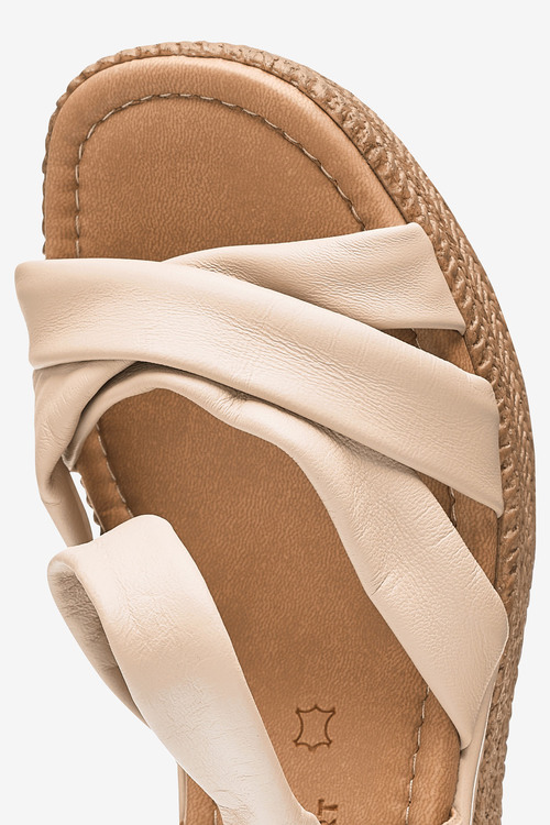 Next Leather Soft Knot Wedge Sandals-Regular