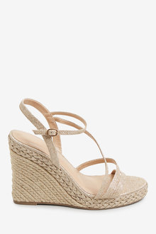 Next Strappy Plaited Glam Wedges - 265597